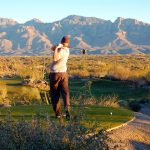 Teeing off on the 18th hole at the stone canyon club which overlooks the gorgeous course in Tucson Arizona