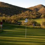 Starr Pass Golf Club - A green with views of the saguaro covered hills in the Tucson Arizona golf home community
